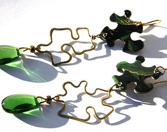 PUZZLE Earrings, Unique Hammered Forged Brass Earrings, Green Glass Drop Earrings, Jigsaw Puzzle, Paper Earrings, Handmade in Canada