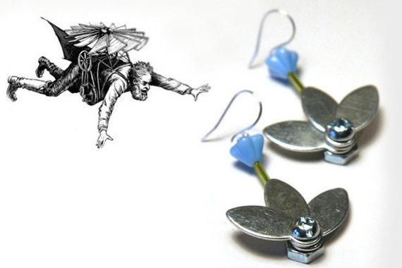 Industrial Flower Earrings Steampunk Vintage Earrings Machine Metal Flower Up-cycled Machine Stainless Steel Bolts and Nuts Blue Flower