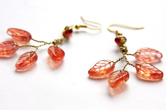 ELECTRIC JEWEL Earrings. Upcycled Red Glowing LED. Peach Pink Leaves Gold Wirewrapped.  Luxurious Techno Jewelry for Fashion Savvy Girl