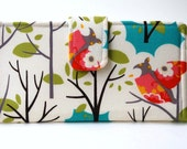 Owl Wallet, Fabric Bifold Clutch, Woodland Forest, Teal, Pink, Green, Yellow, Made to Order