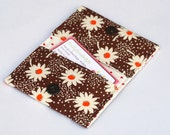 Fabric Business Card Holder , Card Case with snap closure, White flowers on brown backround