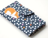 Fox Wallet, Applique Bifold Clutch, Polka Dots  Grey and Tangerine - MADE to Order