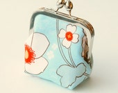 Coin Purse Poppy Flowers, Small Makeup Bag, Vegan Wallet in Orange, Teal, and White