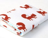 Fox Wallet, Business Card Holder, Credit Card Case, Woodland, White, Brown, and Light Blue