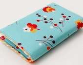 Business Card Holder, Credit Card Case,  Flowers, Small Wallet, teal , orange , white, red