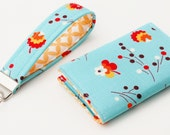 Wallet Gift Set , Small Card Case and Matching Key Chain, Flowers in Teal , Orange and White