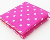 Square Business Card Case, Pink Polka Dot , Oversized Card Holder, Fabric Wallet, Summer Flowers