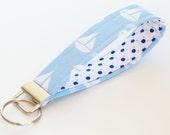 Key Chain Sailboat , Fabric Key Fob, Key Strap - Light Blue and Navy Nautical Style