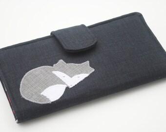 Fox Applique Wallet, Vegan Fabric Bifold Clutch, Mushroom Wallet, Charcoal Black