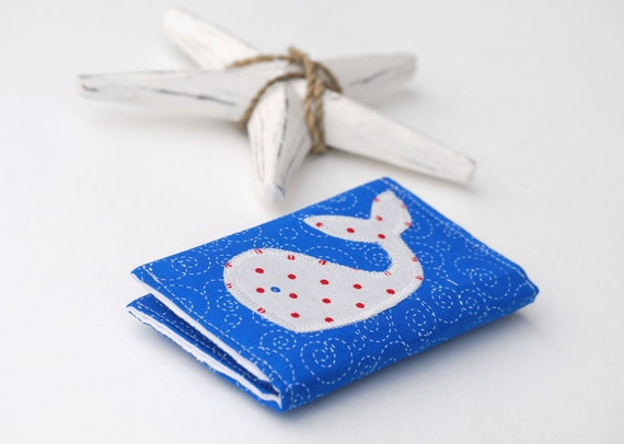 Business Card Holder, Whale Credit Card Case, Nautical Theme, Navy Blue, White, and Red