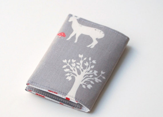 Business Card Case, Organic Fabric Credit Card Holder, Woodland Animals, Deer, Rabbit, Grey, Red, White