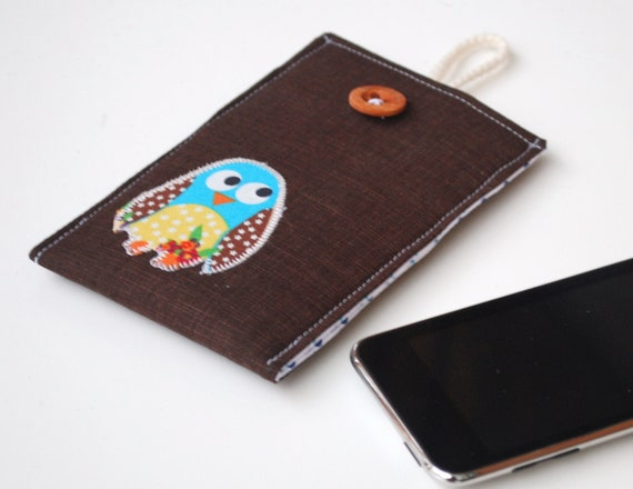 Owl Case IPhone, IPod Sleeve, Fabric Cell Phone Pouch, Applique, Dark Brown and Navy