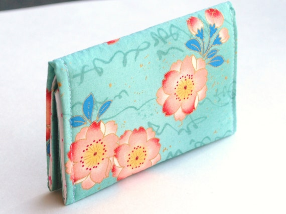 Pink Card Case, Business Card Case with snap closure, Small Wallet with Pink Blossoms, Teal and Gold
