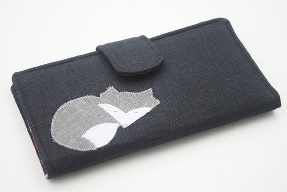 Fox Applique Wallet, Vegan Fabric Bifold Clutch, Mushroom Wallet, Charcoal Black
