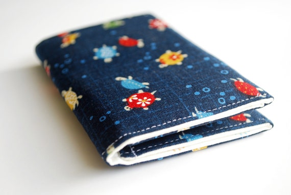 RESERVED -    Business Card Holder, Tiny Turtles, Credit Card Case, Small Wallet, Navy