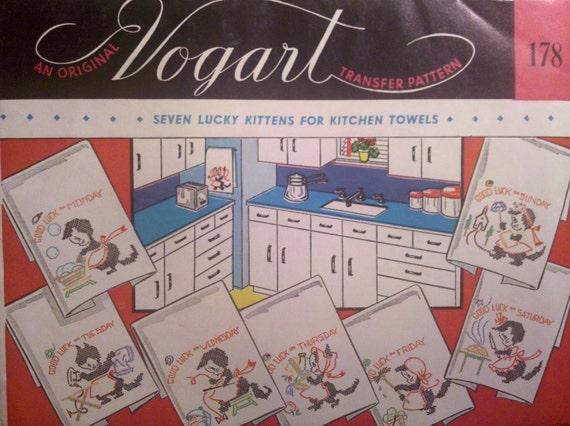 Lucky Kittens - A Vintage Vogart 178 Transfer Patterns