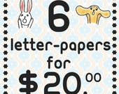 Value Pack / 6 REGULAR sized letter-papers you pick