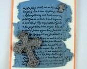 Celtic Cross with Fleur De Lis Torn Paper Polymer Clay Handmade Greeting Card