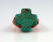 Carved Cross Kingman Arizona Turquoise Ring Includes FREE SHIPPING