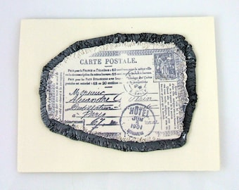 Antiqued French Post Card Handmade Greeting Card