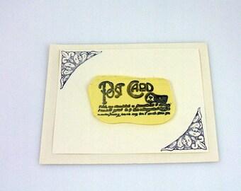 Fleur De Lis Post with French Script Handmade Greeting Card (2)