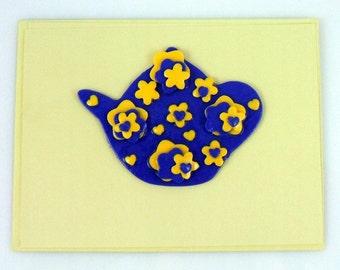 My Pretty Tea Pot Handmade Greeting Card that doubles as Wall Art.