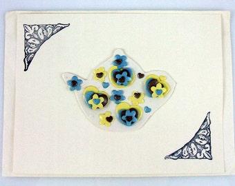 Fleur De Lis Floral and Heart Teapot Handmade Greeting Card