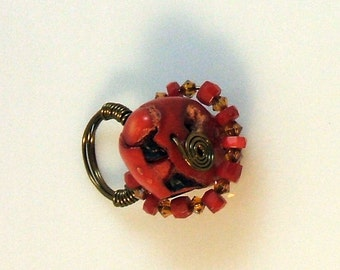 Fancy Wire Wrapped Red Sponge Coral & Swarovski Crystal Ring