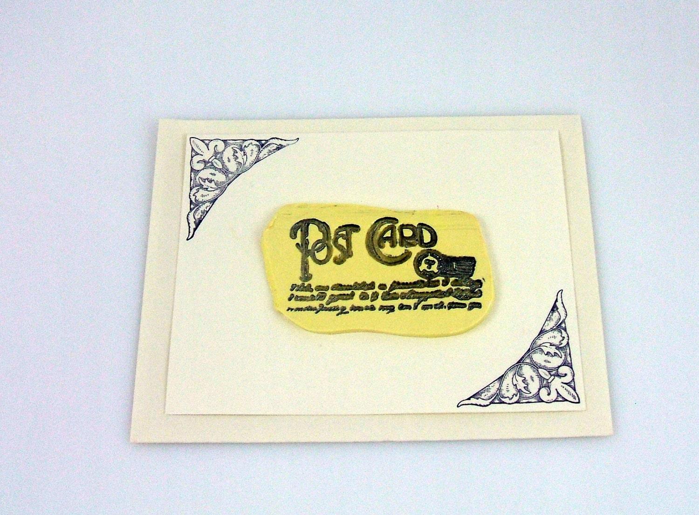 Fleur De Lis Post with French Script Handmade Greeting Card (2 ...