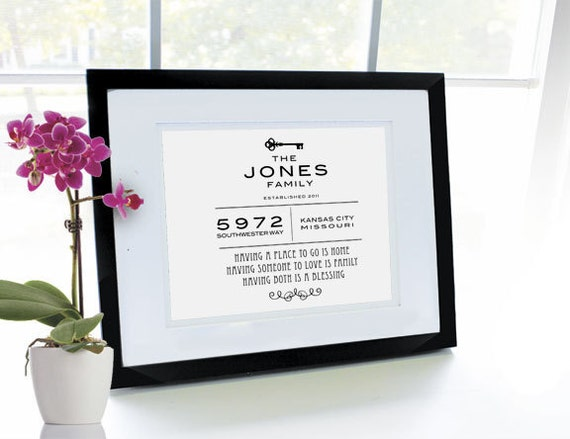 Custom Housewarming/New Home Keepsake Print -- Personalized 8 x 10 print only