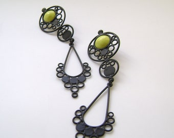 SALE 50% OFF matte black and yellow tear drop earrings, drop earrings with silver post
