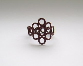 50% OFF ring, copper circle ring, brown powdercoat, size 6.5, delicate lace inspired ring powder coat