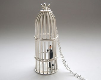 silver bird cage necklace with tiny business man, sterling silver necklace with silver chain and handmade clasp