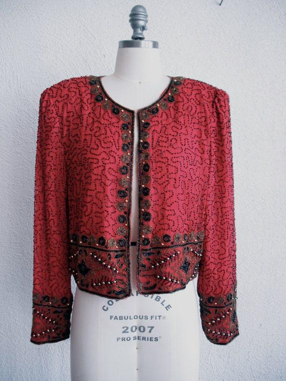 Beaded cropped jacket red black gold Medium