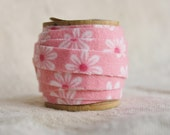 """Fabric Tape - Pink Daisy Flannel - 1/2"""" x 2 yards - comes on vintage spool"""