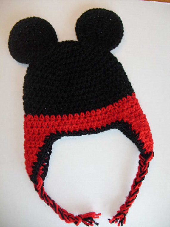 Free Minnie Mouse Crochet Hat Pattern With Ear Flaps : Mickey Mouse Inspired Crochet Ear Flap Hat