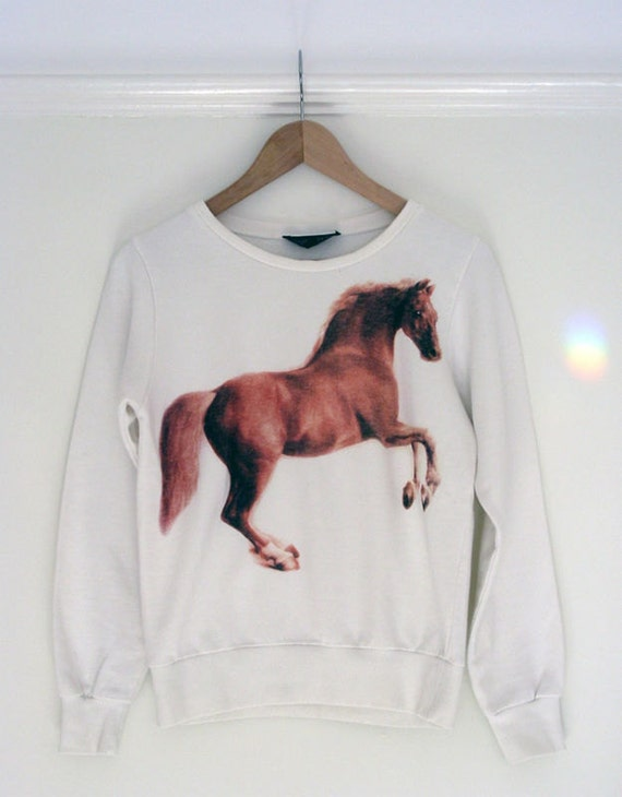 Cream and Brown Novelty Horse Sweater