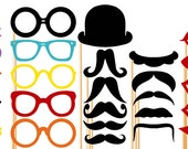 Photo Booth Props - 31 Piece Mustache Hat Lips On a Stick - Wedding Party Props - Birthday