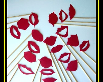 Lips On a Stick - 20 Piece Set - Photo Booth Props - Party - Wedding - Birthday