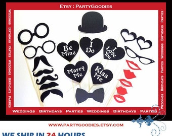 Photo Booth Props -  Wedding Photobooth Props - 21 Piece Set  - Mustache Lip Mr and Mrs Sign