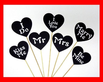 Wedding Sign - 7 Piece Black Set - Party Photo Booth Props