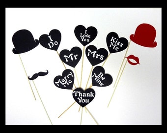 Best Valentines Sign Photo Booth Prop - 12 Piece Set  - Wedding Party Photobooth Props