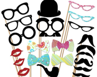 Photo Booth Prop - 22 Piece Set On a Stick - Mustache Party Props - Wedding Photobooth Props