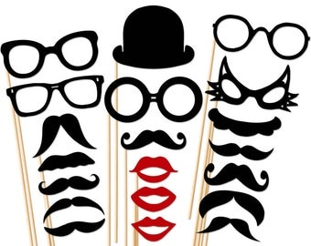Memories Forever Set Photo Booth Props - 20 Piece Set  - Mustache Glasses Lip Hat  - Wedding - Birthday - Party