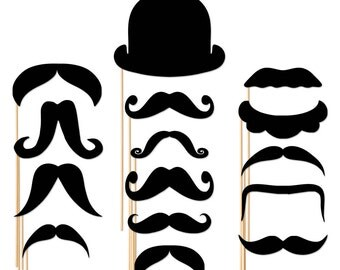 15 Piece Set Photo Booth Props - Photobooth Props Mustache On a Stick - Wedding Party Prop