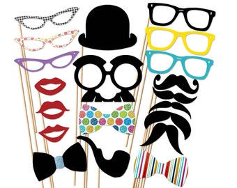 Geek Photo Booth Props - 20 Piece Set On a Stick - Wedding Party Props