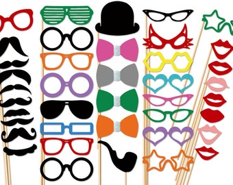 Photo Booth Party - 40 Piece Party Set - Wedding PhotoBooth Props