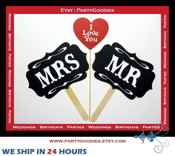 Mr and Mrs I LOVE You Signs - 3 Piece Set - Wedding Party Photo Booth Props