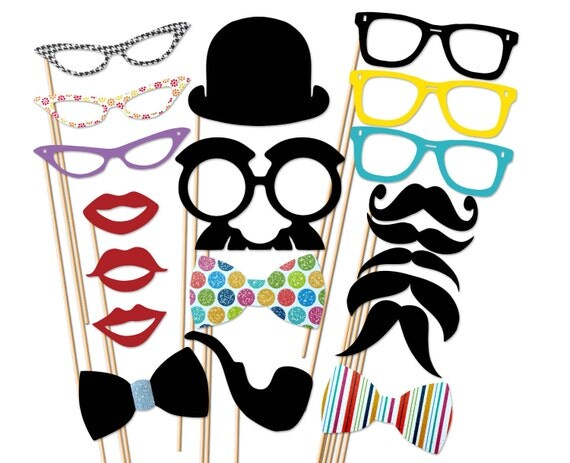 20 Piece  Set - Party Photo Booth Props
