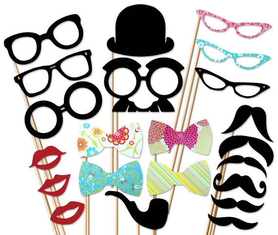 Wedding  Photo Booth Prop - 22 Piece Set On a Stick - Mustache Party Props - Photobooth Props